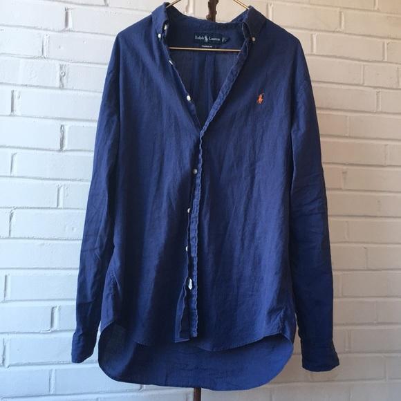 9f4e96b04 Polo by Ralph Lauren Shirts   Vintage Polo Ralph Lauren Blue Linen ...